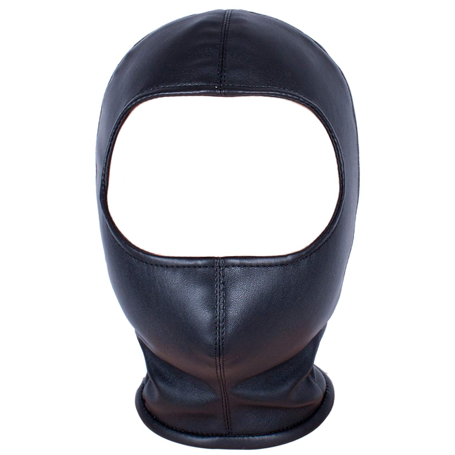 Leather Costume Head Mask Hood - Black Sealed Soft Leather Full Face Mask Nose Holes Breathable Lacing Harness Unisex Cosplay Headgear Mask (Male Size(Head circumference:22.8in-22.6in), Black)