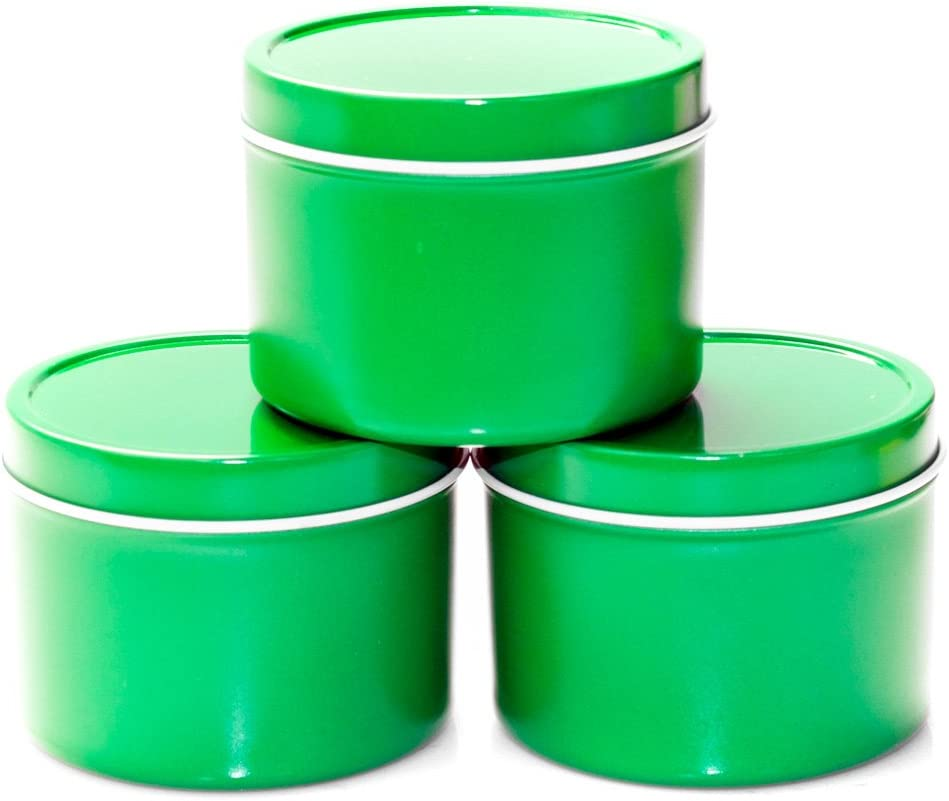 Mimi Pack 6 oz Round Metal Tin Container Deep Solid Top Lid Steel Cans For Spices, Candy Favors, Balms, Gels, Candles, Gifts, Storage 24 Pack (Green)