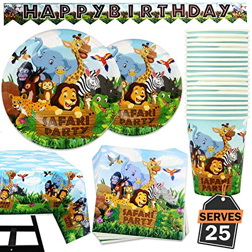 Animal Party Supplies (102 Piece Safari Animal Party Supplies Set Including Banner, Plates, Cups, Napkins, and Tablecloth, Serves)