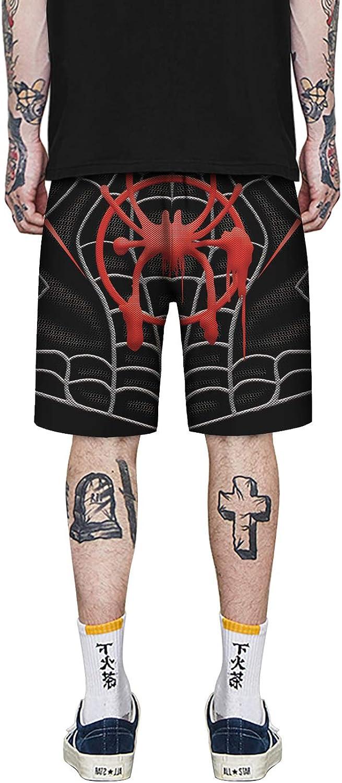 Mens High Elastic Waist 3D Digital Print Spider-Man Painting Design Casual Fashion Flat Front Shorts