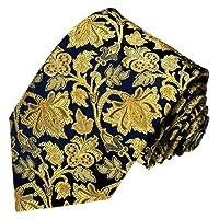 LORENZO CANA - Luxury Italian 100% Silk Tie Jacquard Woven Blue Gold Baroque - 84212