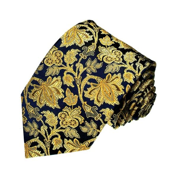 LORENZO-CANA-Luxury-Italian-100-Silk-Tie-Jacquard-Woven-Blue-Gold-Baroque-84212