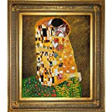 overstockArt KL1839-FR-655G20X24 Gustav Klimt The Kiss 20-Inch by 24-Inch Framed Oil Painting on Canvas, Full View