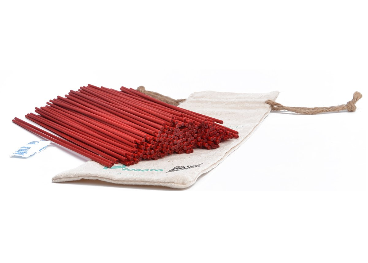 Jecnovo Reed Diffuser Sticks, Pack of 100 Fiber Sticks with Handmade Linen Bag, Eco-Friendly, Safe and Non-Toxic, 9 Inches Long 3mm Diameter Aromatherapy Diffusers for Home, Spa and Office(burgundy)