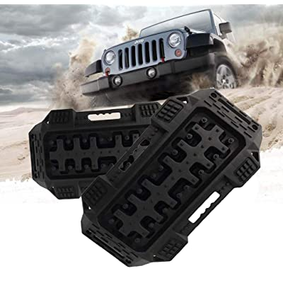 FIREBUG Off-Road Recovery Track, Traction Boards, Tracktion Mat, 2 Pcs Recovery Tracks Traction Mat for 4X4 Jeep Mud, Sand, Snow Tire Traction (Black): Automotive