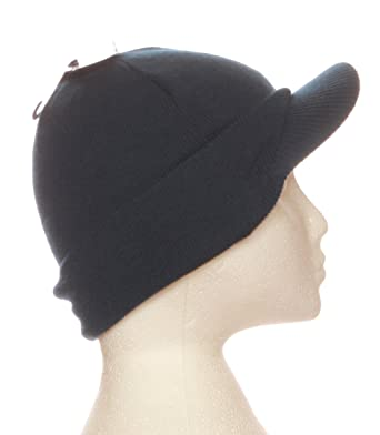 61cd2c0091 Midnight Blue Mens Knitted Beanie Hat with Peak GL221: Amazon.co.uk ...