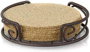 Home Basics Natural Cork Durable & Attractive 6-Piece Coaster Set. Bronze