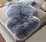 Cheap Wolala Home Luxury Sheepskin Wool Blue Gray Area Rug Window Mats Super Soft Shaggy Rugs 2'5×3'37