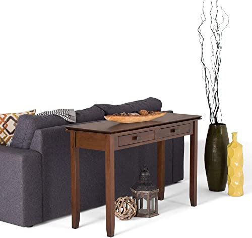 Simpli Home AXCRART06-RUS Artisan Solid Wood 46 inch Wide Contemporary Console Sofa Table in Russet Brown