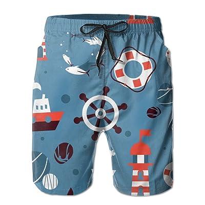 Usieis Steering Wheel and Lighthouse, Anchor Surfing Pocket Elastic Waist Men's Beach Pants Shorts Beach Shorts Swim Trunks