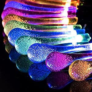 Sogrand Solar String Lights Outdoor Decorative Waterproof 60 Colorful LED Waterdrop Fairy Light Garden Decorations Home Decor Deal of The Day Prime Today Landscape Lamp for Patio Outside Party Yard