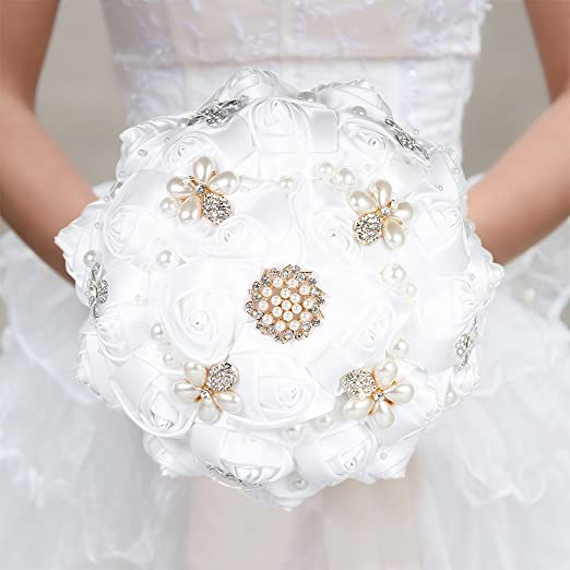 Amazon Com Decdeal Bridal Bouquet Roses Flowers Crystal Pearl