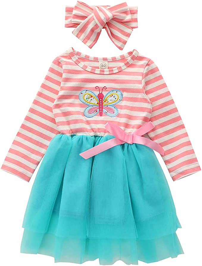 Verve Jelly Toddler Baby Girls Dress Ruffle Long Sleeve Bowknot Casual Dresses Girls Clothes Outfits Fall Skirt