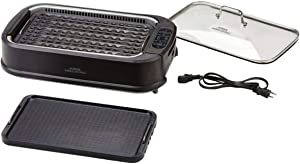 PowerXL Smokeless Grill with Tempered Glass Lid with Interchanable Griddle Plate and Turbo Speed Smoke Extractor Technology. Make Tender Char-grilled Meals Inside With Virtually No Smoke (Pack 2)
