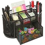 MyGift Space Saving Black Metal Wire Mesh 8 Compartment Office / School Supply Desktop Organizer Caddy w/ Drawer