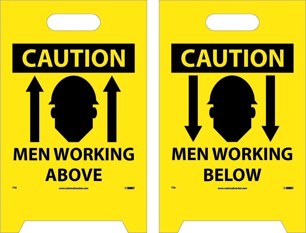 NMC FS6 Double Sided Floor Sign, ''CAUTION MEN WORKING ABOVE - MEN WORKING BELOW'', 12'' Width x 20'' Height, Corrugated Polyethylene, Black on Yellow