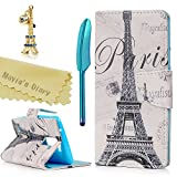 LG K7 Case,LG Tribute 5 / LG M1 Case - Mavis's Diary Clearance Wallet Flip Folio Case PU Leather Magnetic Cover with Card Holders Protective Soft TPU Inner Case Eiffel Tower Pattern & Cute Dust Plug &