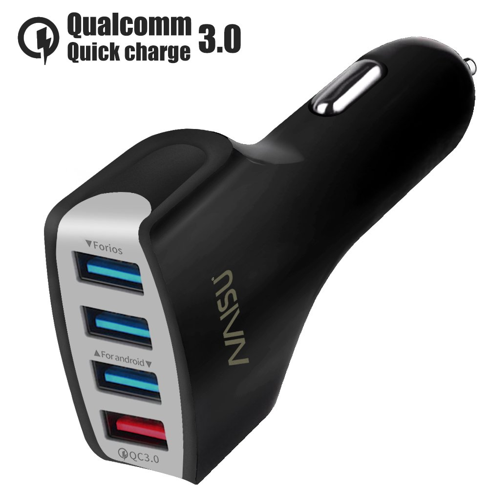 4-Ports Car Charger, NAISU Quick Charge 3.0 36W USB Car Charger for iPhone/iPad/Pro/Samsung Galaxy/Android/Camera And More Other USB Devices - Black