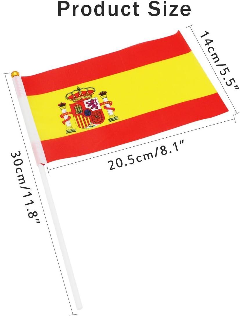 Banderas Pequeñas de Mano 50pcs 14*21cm Bandera Decorativa (España): Amazon.es: Jardín