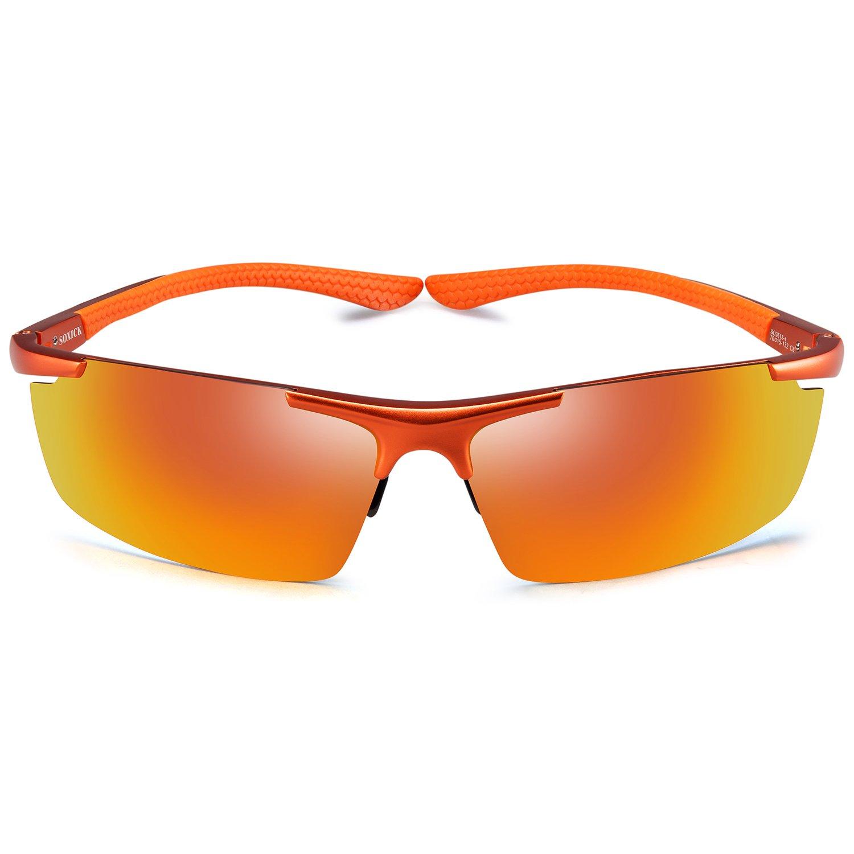e438492a6f6 Sports Polarized Sunglasses-UV400 Anti Glare Lenses-Metal Half Frame Men  Women Cycling Fishing Baseball Sun Glasses (Jacinth)  Amazon.in  Sports