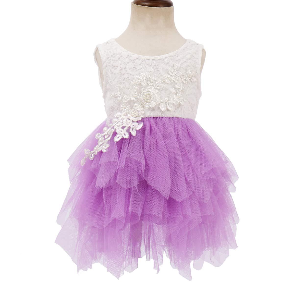OBEEII Kid Girl Lace Flower High Low Tutu Dress Junior Bridesmaid Graduation Pageant