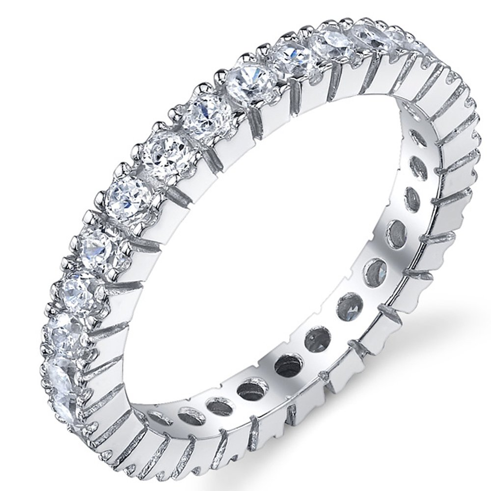 3MM Sterling Silver 925 Eternity Ring Engagement Wedding Band Ring With Cubic Zirconia CZ Size 5