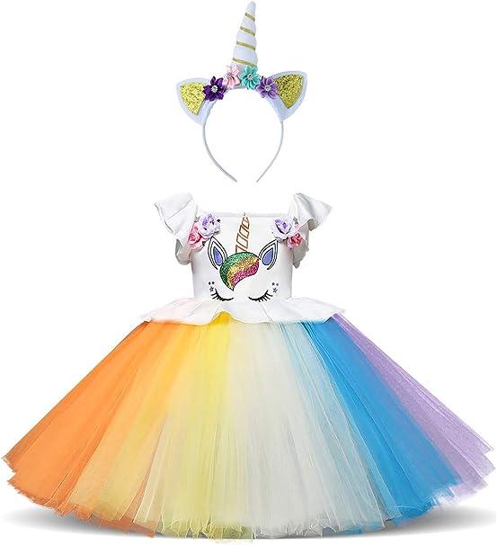 YOSICIL Unicornio Niños Disfraz con Accesorios Vestidos Princesa ...
