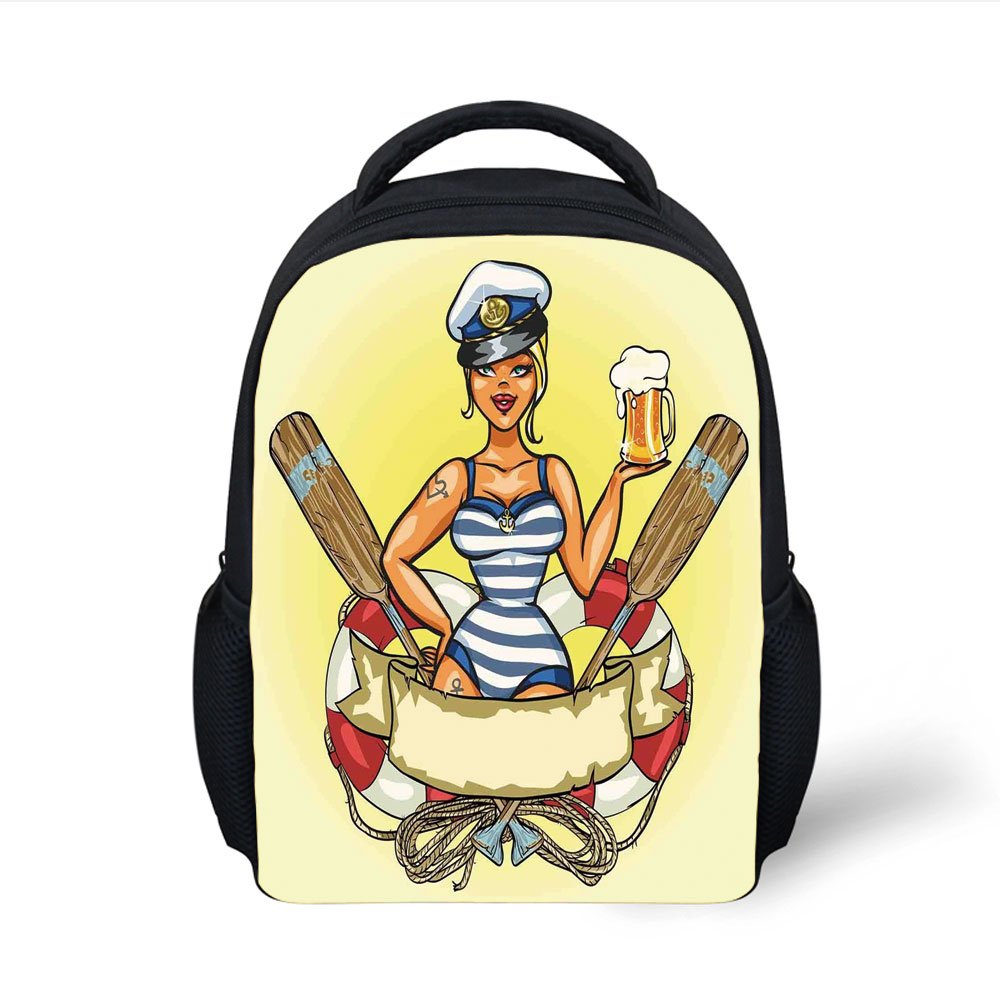 Iprint kids school backpack girlspin up sexy sailor girl lifebuoy with captain hat and costume glass of beer femininemulticolor plain bookbag travel