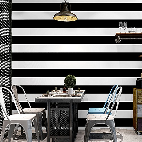 Blooming Wall Wide Black&White Stripes Peel and Stick Wallpaper Wall Mural Wall Decor,