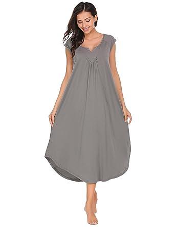 2921a9ad5746 Langle Womens Sleepwear Sexy Babydoll Cotton Nightgowns Lounge Shirt Dress  (Gray