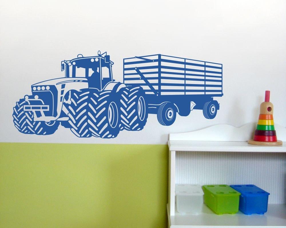 Samunshi® Wandtattoo Großer Traktor mit Anhänger Trecker Kinderzimmer Kinderzimmer Kinderzimmer Kinder Wandaufkleber in 8 Größen und 20 Farben (140x59cm grün) B06VX1KYQH Wandtattoos & Wandbilder 134e01