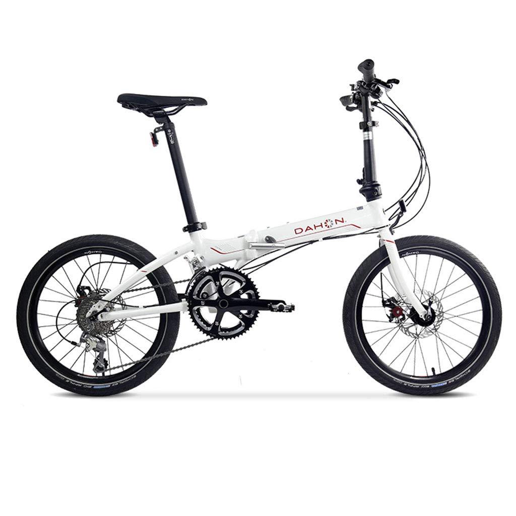 折りたたみ自転車 自転車折りたたみ自転車20インチ可変速度アルミニウム合金ユニセックス超軽量ディスクブレーキ自転車 (Color : 白, Size : 150 * 30 * 108cm) 150*30*108cm 白 B07JC37Z78