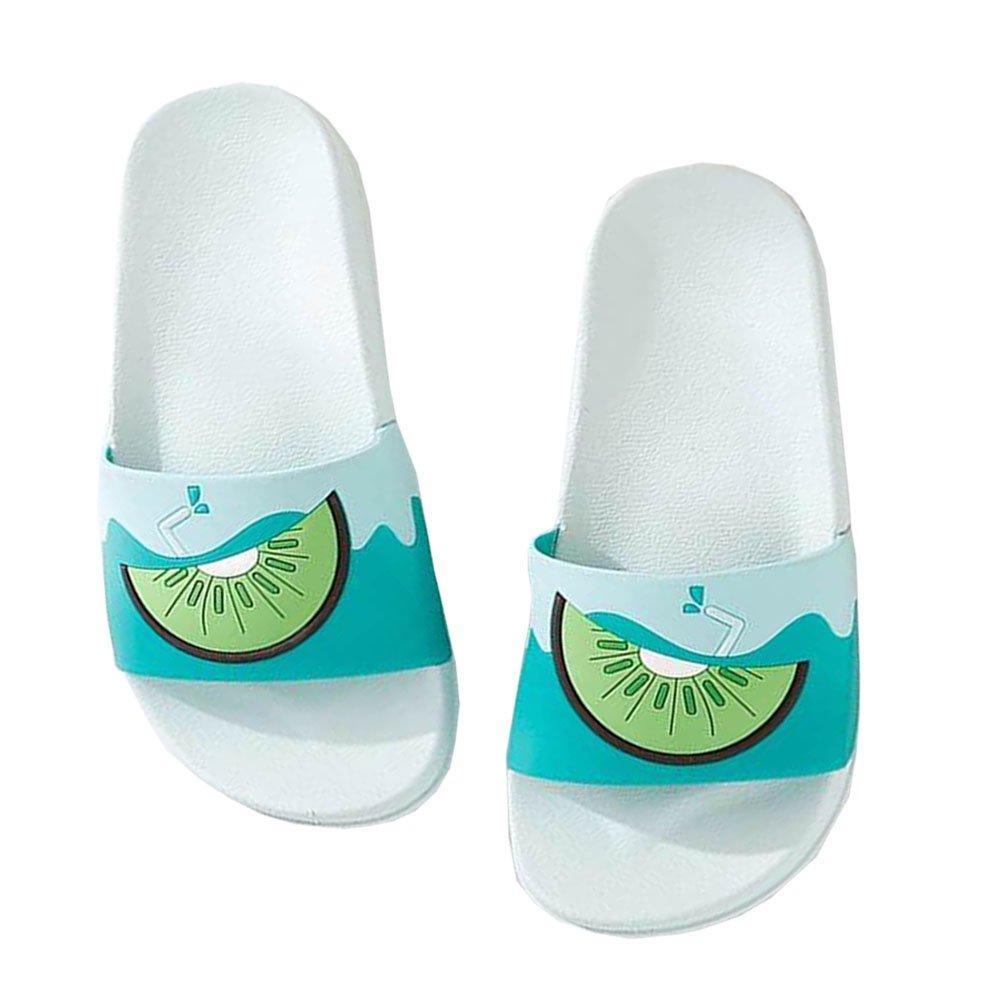 GRRR Sandals for Women, Junior Couple Casual House Indoor Sole Cute Fruit Slippers for Summer Comfort Outdoor Bedroom Nonslip Shower Slipper for Bathroom Blue Kiwi Size 5-5.5