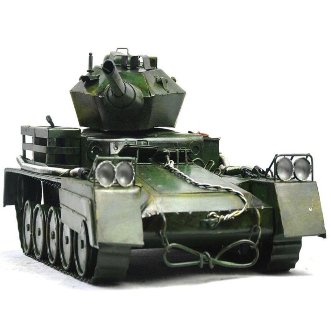 GL&G Retro Iron art Car model World War II tank model Photography props Home Decoration Birthday gift Cafe bar Tabletop Scenes Ornaments Collectible Vehicles Keepsakes,351814cm