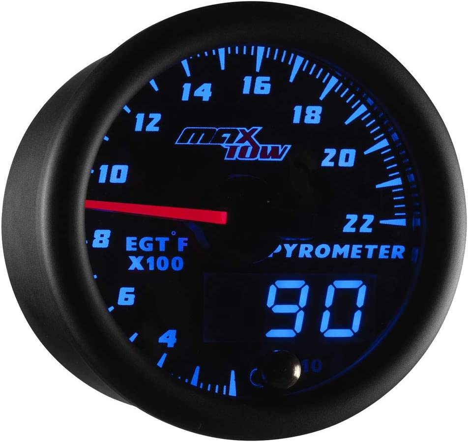 for Gas Trucks 2-1//16 52mm Includes Type K Probe Analog /& Digital Readouts Blue LED Dial Black Gauge Face MaxTow Double Vision 2200 F Pyrometer Exhaust Gas Temperature EGT Gauge Kit