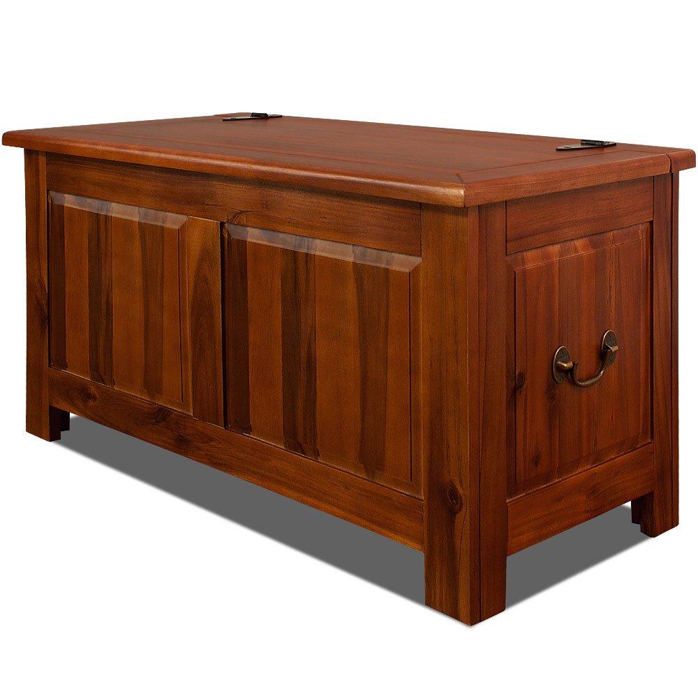 Deuba Wooden Storage Chest Trunk End of Bed Blanket Box 180L Dark Brown Acacia Wood Chest Toy Bedding Ottoman