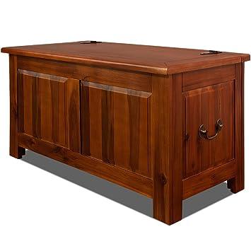 Deuba Wooden Storage Chest Trunk End Bed Blanket Box 180L Dark Brown Acacia  Wood Chest Toy