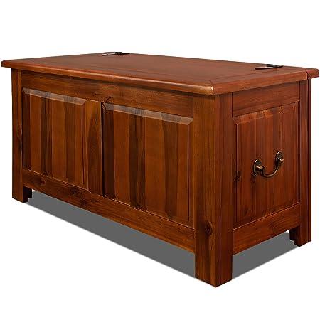 Deuba Wooden Storage Trunk End Of Bed Blanket Box 180L Dark Brown Acacia  Wood Chest Toy