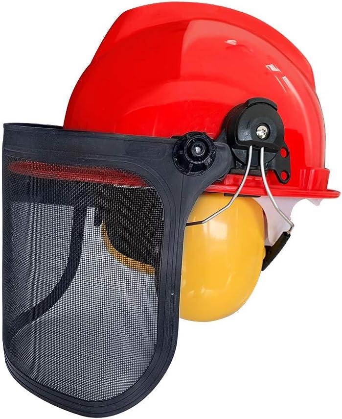 UISEBRT Casco Forestal con protección auditiva y Visera de Malla Plegable – Casco de protección para Trabajadores forestales