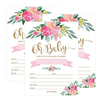 Amazon Com 25 Cute Floral Oh Baby Shower Invitations For Girls