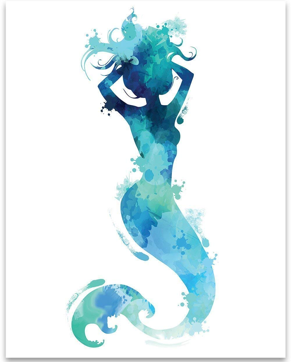 Mermaid Shape Watercolor Wall Art 11x14 Unframed Art Print Perfect Beach Home Lake House Nursery And Children S Room Decor And Baby Shower Gift Under 15 Handmade