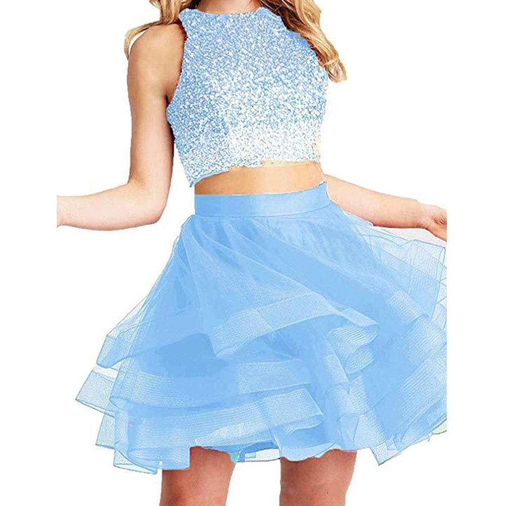 bluee CEFULTY Women's Fashion Beads Sexy Short Dress Ball Gown (color   bluee, Size   US18)