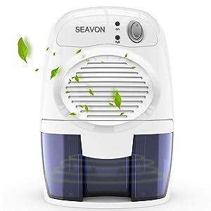 SEAVON Electric Portable Small Dehumidifiers for Home MD-819 500ml for 1500 Cubic Feet,16 oz Capacity Quiet Safe Mini Dehumidifiers for Basement, Bedroom, Bathroom, RV, Closet,- Auto Shut Off