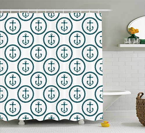 Ambesonne Anchor Decor Collection, Nautical Pattern with Anchors in Circular Rope Frames Summertime Enjoyment Design, Polyester Fabric Bathroom Shower Curtain Set with Hooks, Navy White