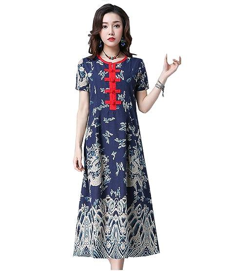 0bcf82b2e04 ACVIP Femme Rétro Robe Longue avec Manche Courte Motif Floral Nation  Chinois (Chinois L