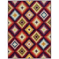 Ottomanson RNB2176-3X5 Rainbow Collection Non-Slip Diamonds Design Area Rug, Multicolor, 39 x 55