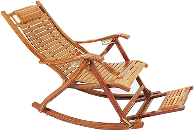 GFBVC Silla reclinable La Gravedad Cero sillas de salón Sillas de jardín de bambú Plegable reclinable al Aire Libre Patio Tumbona en la Playa con reposapiés (Color, Size : One Size): Amazon.es: