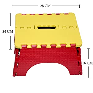 Maa Bhagwati Plastic Foldable Stool for Stepping Up/Sitting, Pick N Move (Yellow and Red, 16x28x24 cm)