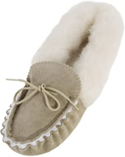 Lambland Ladies Genuine Sheepskin Moccasin Slippers with Soft Suede Sole