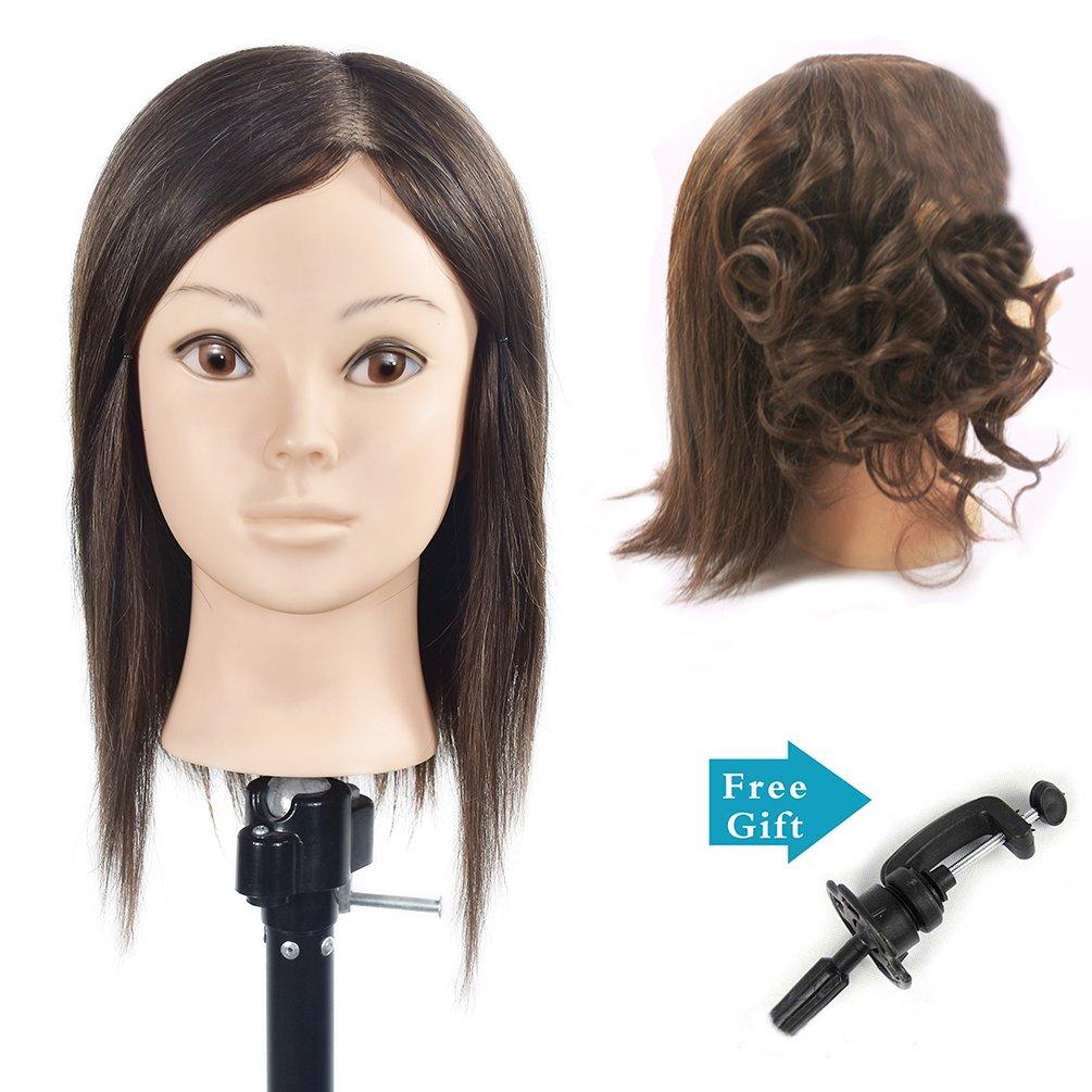 Boli peluquería formación cabeza 95% humano real pelo Styling maniquí muñeca (Pinza para mesa soporte incluido)